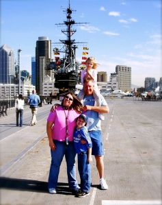 The Young family visiting the USS Midway in San Diego