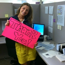 Charlotte at work as a Student Assistant for Annual Giving Support