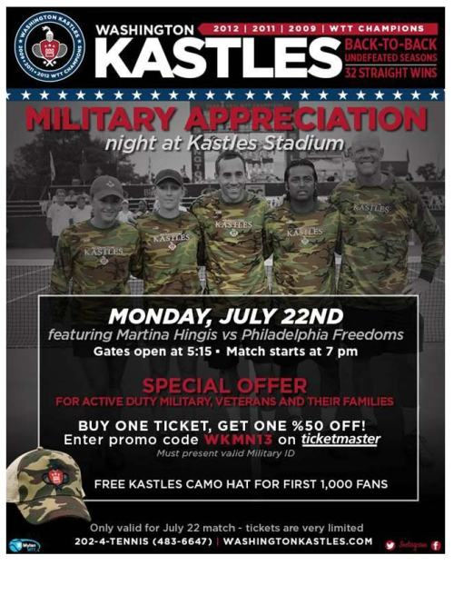 Kastles Military Apprecation Night Flyer
